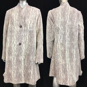JESSICA LONDON Beige Snake Suede Leather Long Sleeve 3/4 Coat - NEW